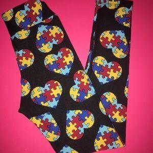 LulaRoe Tween Leggings  💙 Autism Heart Puzzle 💙
